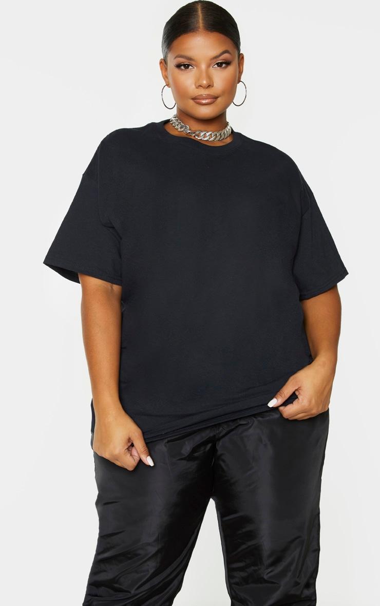 PRETTYLITTLETHING Plus Black Oversized Slogan T-Shirt 2