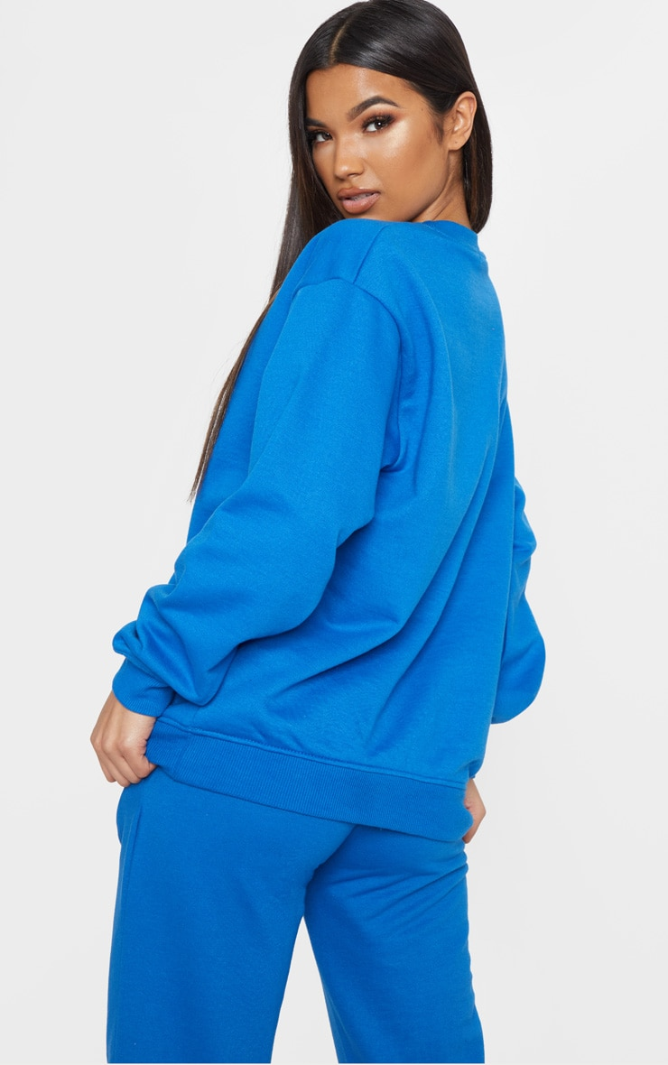 PRETTYLITTLETHING Cobalt Embroidered Oversized Sweater 2