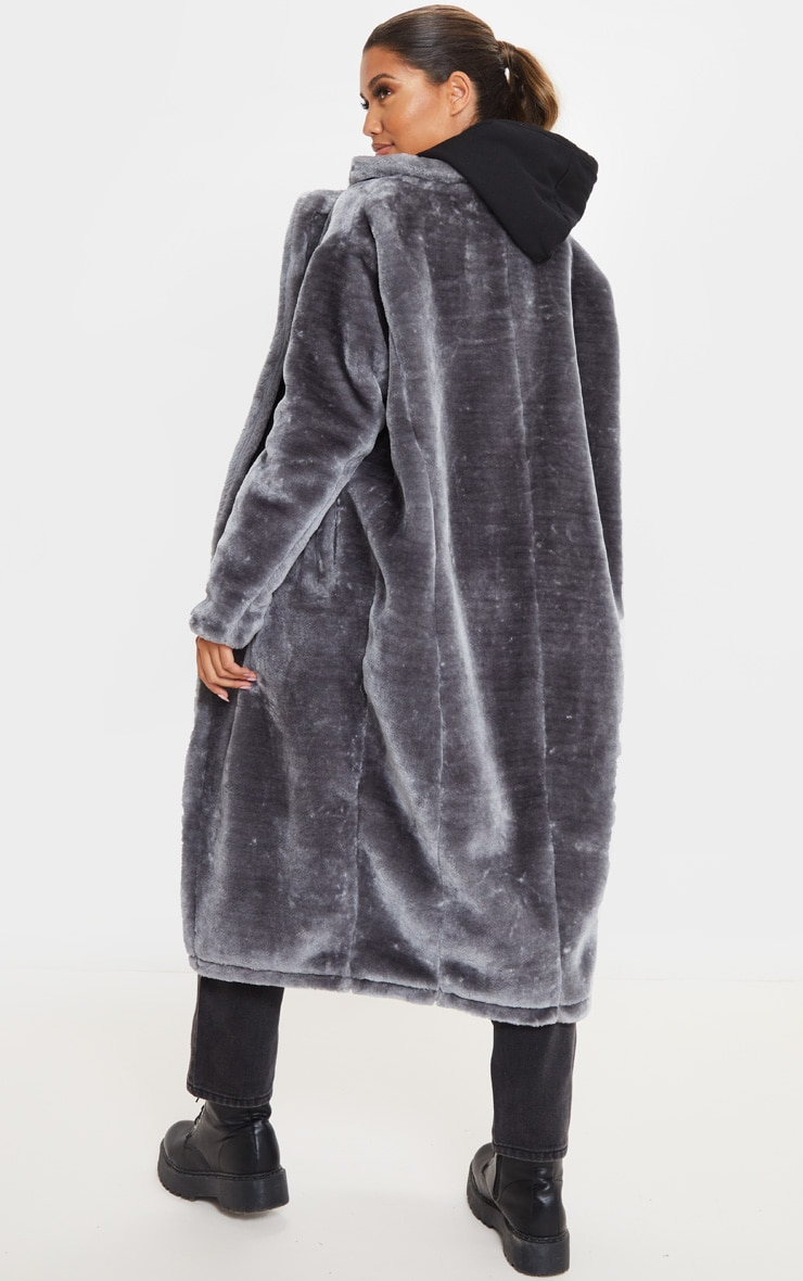Grey Faux Fur Midi Coat  2