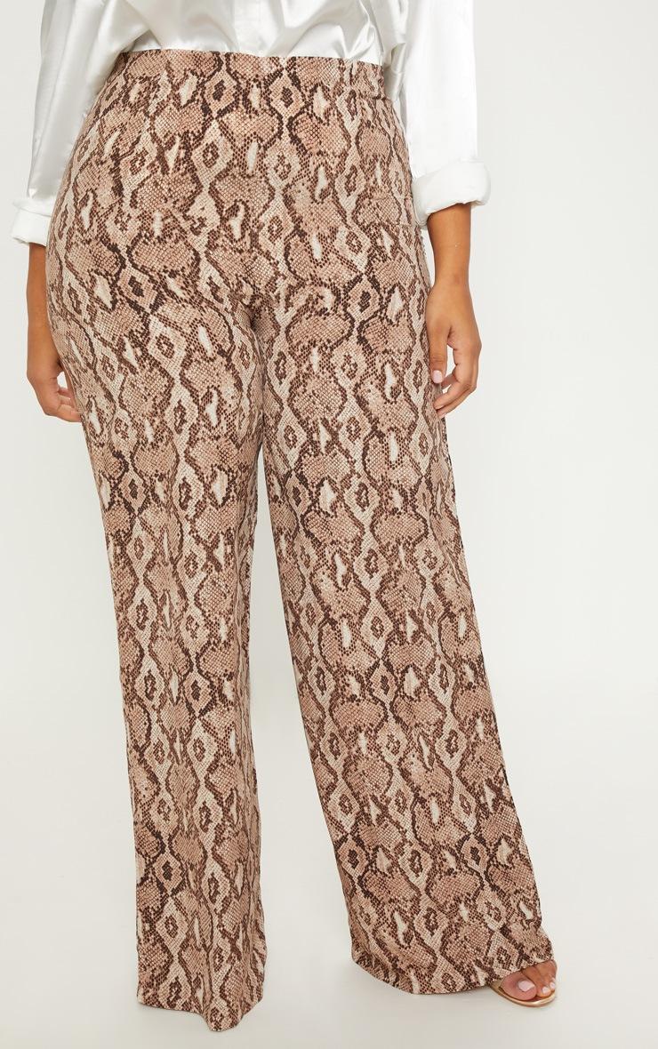 Plus Taupe Snake Print Wide Leg Pants  4