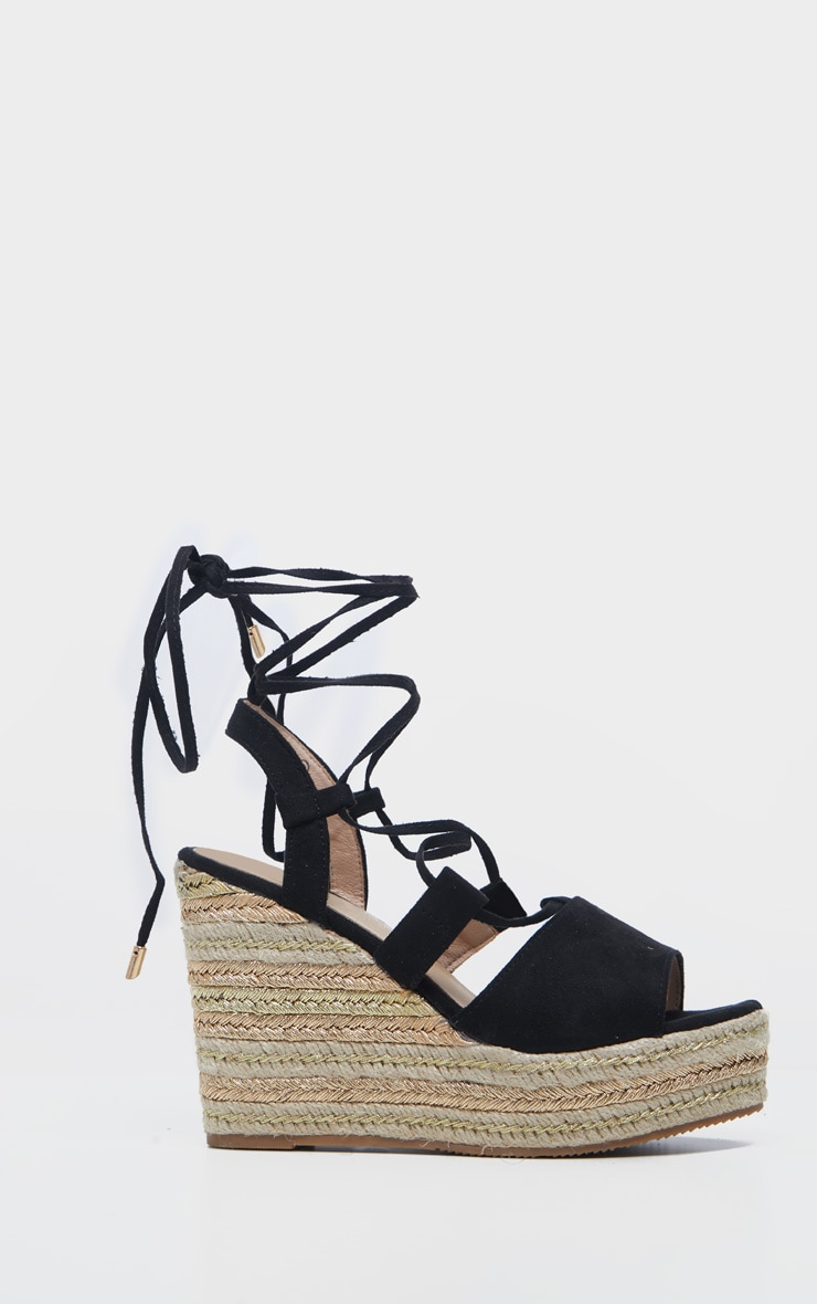 Black Ghillie Lace Up Espadrille Wedge Sandal 5