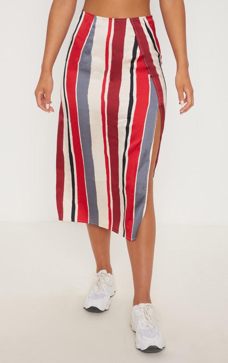 Red Satin Stripe Midi Skirt 2