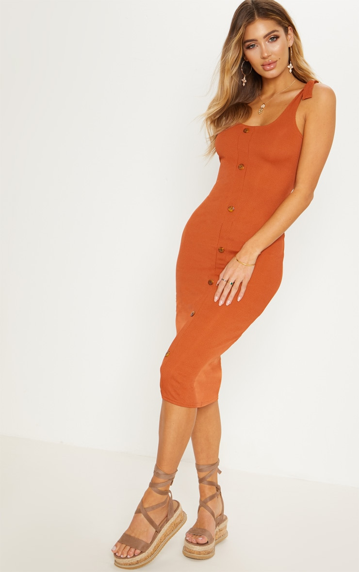 Burnt Orange Ribbed Tie Shoulder Tortoise Shell Button Down Midi Dress 4