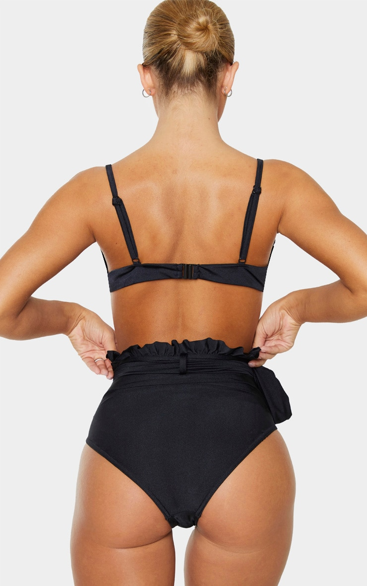 Black Paperbag Belted High Waist Bikini Bottom 4