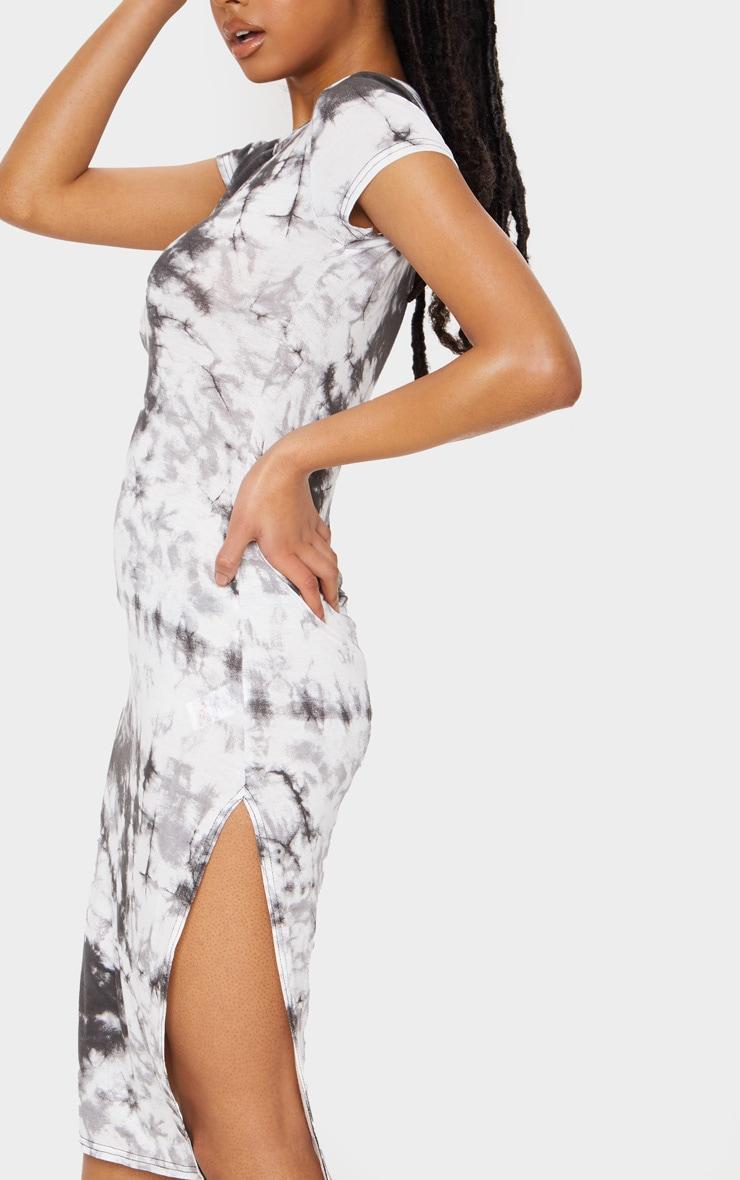 Black Tie Dye Print Cap Sleeve Split Front Midi Dress 4