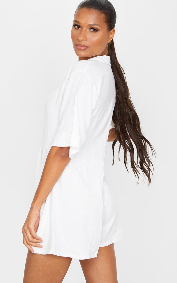 White Oversized Shirt Style Playsuit 2