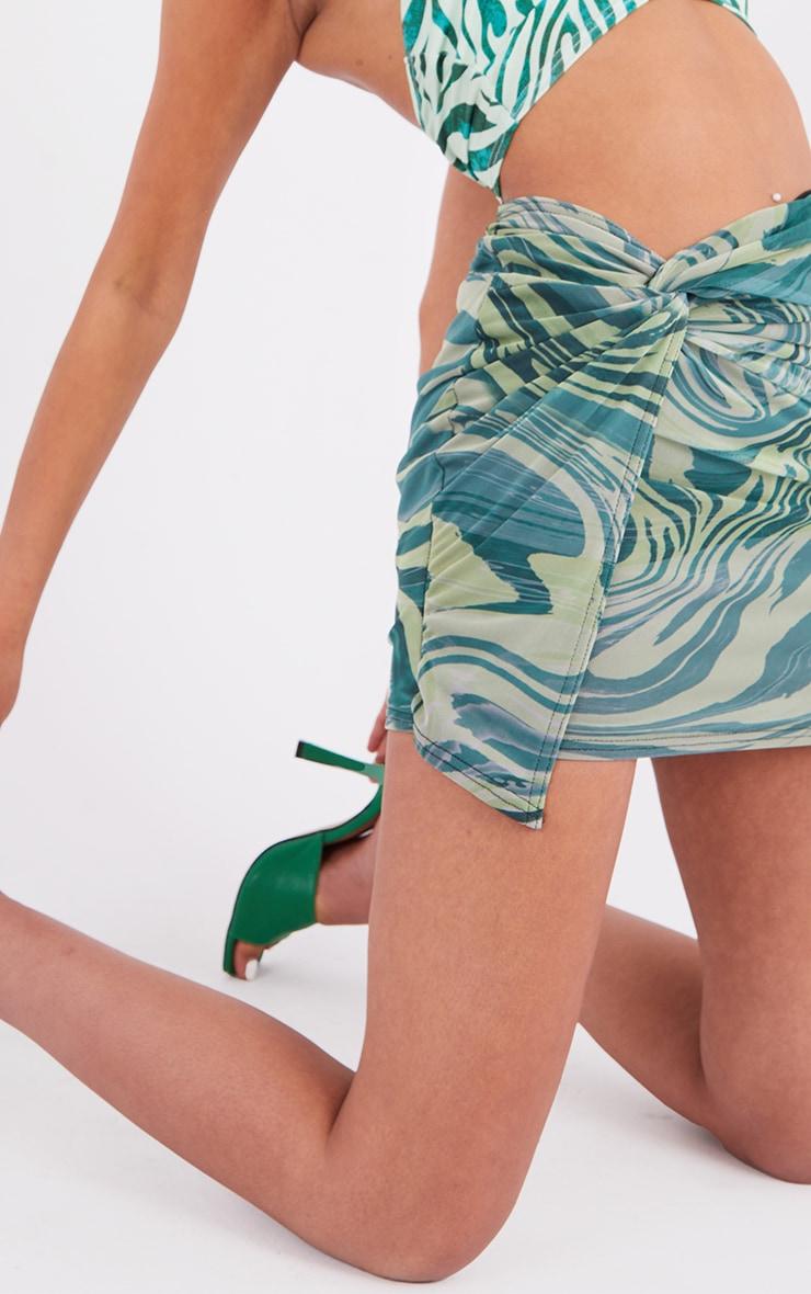 Tall  Green Zebra Print Wrap Mini Skirt 5