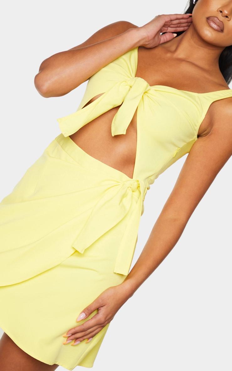 Lemon Sleeveless Double Tie Detail Bodycon Dress 4