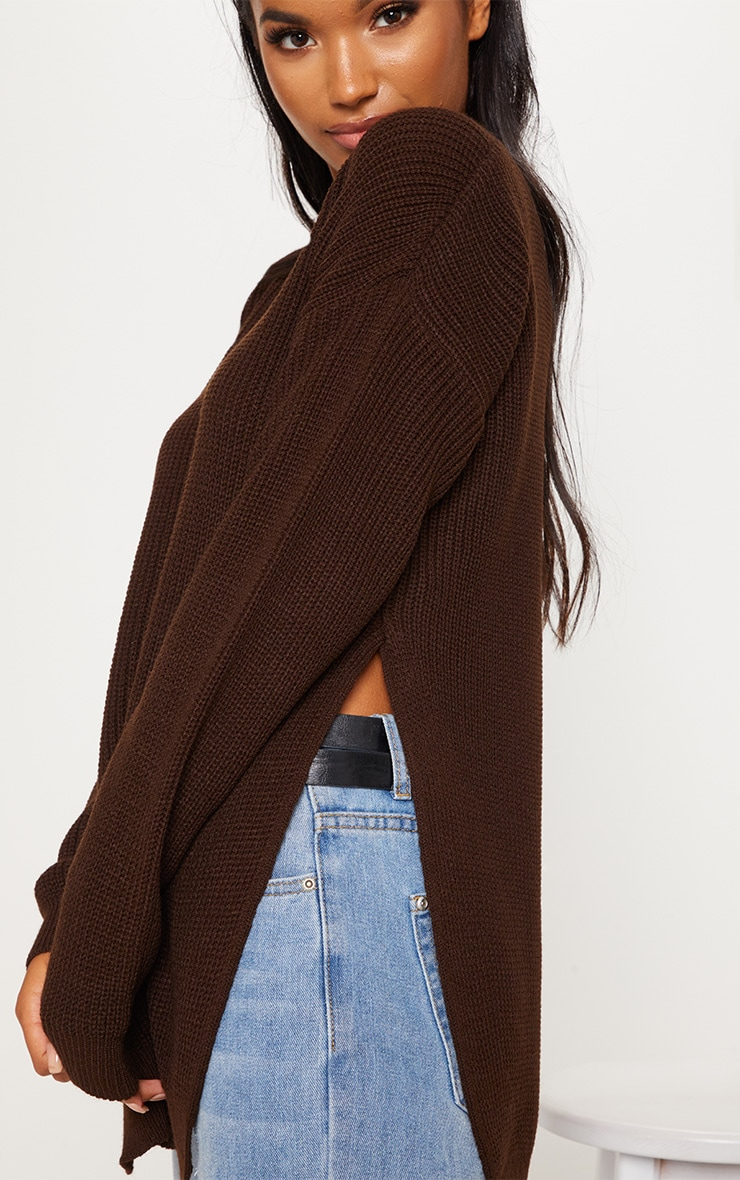 Chocolate Brown Round Neck Side Split Jumper  4