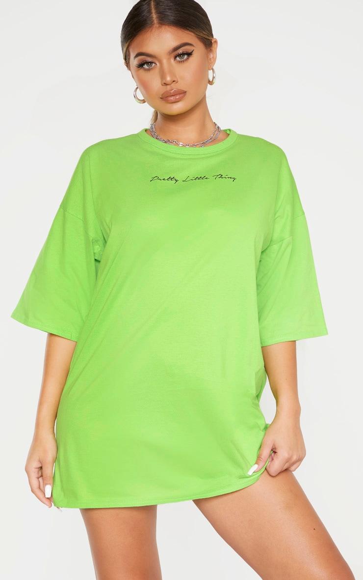 PRETTYLITTLETHING Lime T Shirt Dress  4