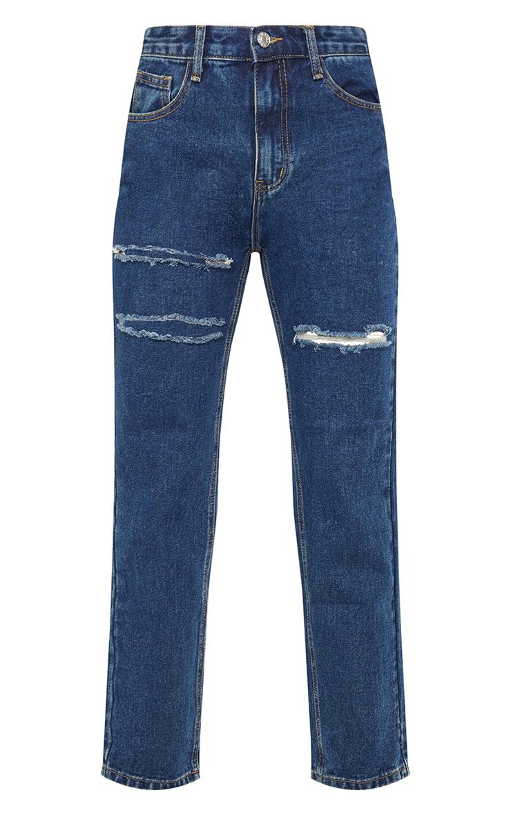 Dark Vintage Wash Thigh Slit Long Leg Jeans 5