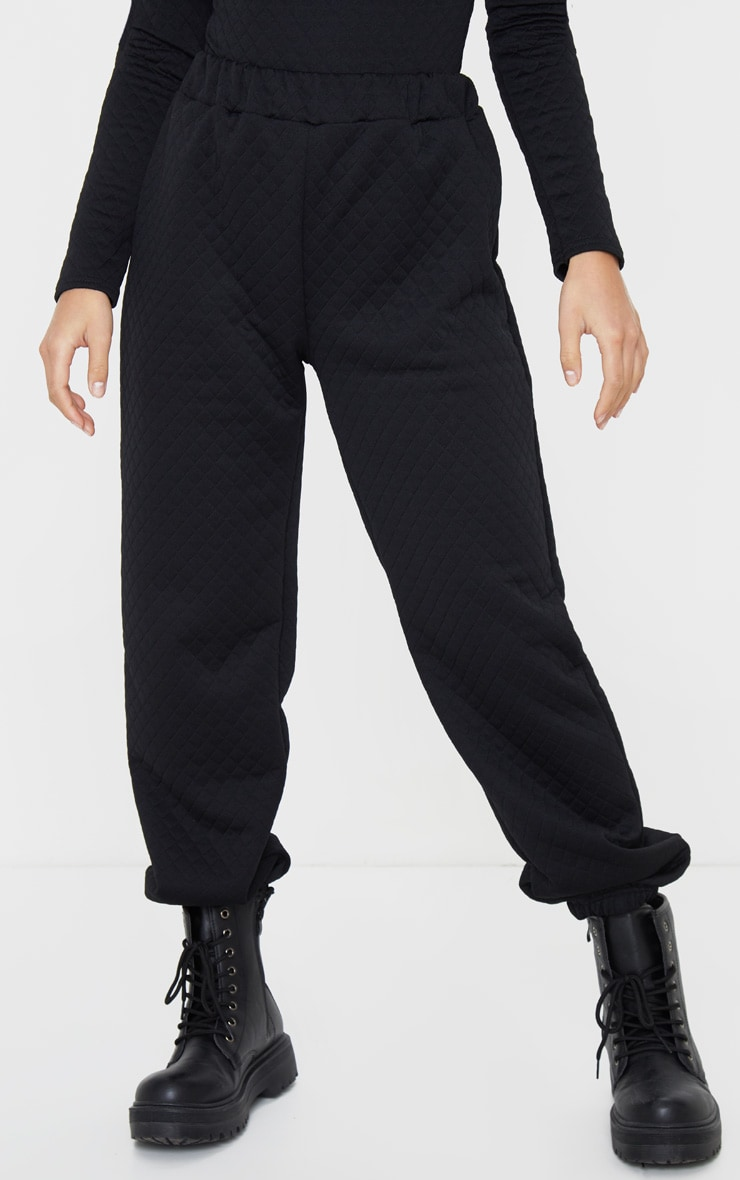 Petite Black Oversized Quilted Track Pants 2