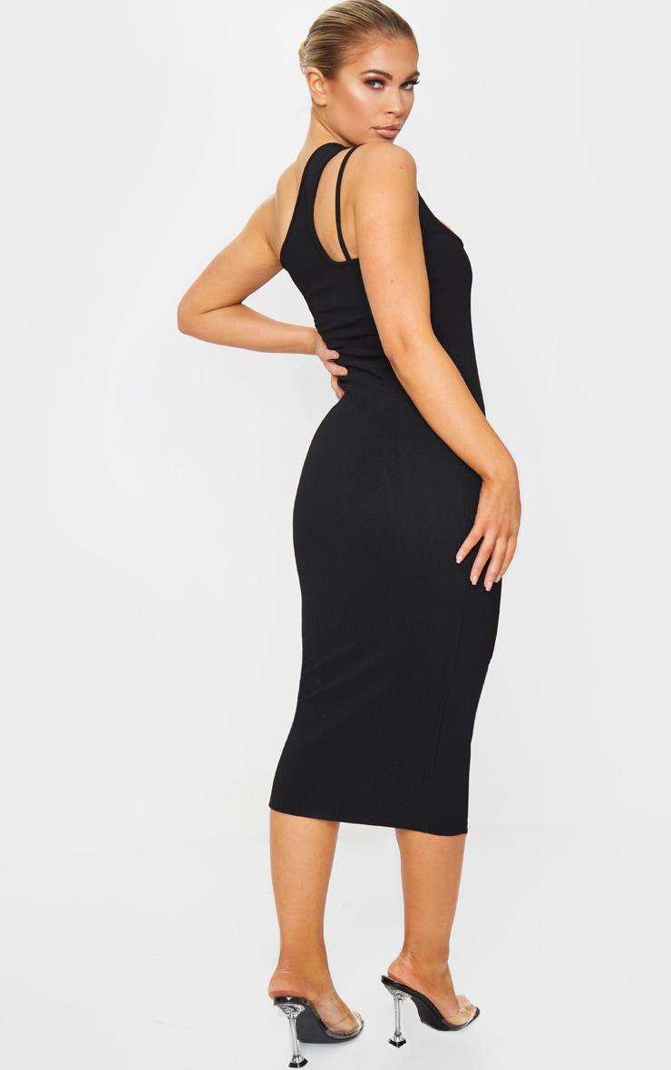 Black Bandage Rib Asymmetric One Shoulder Midi Dress 2