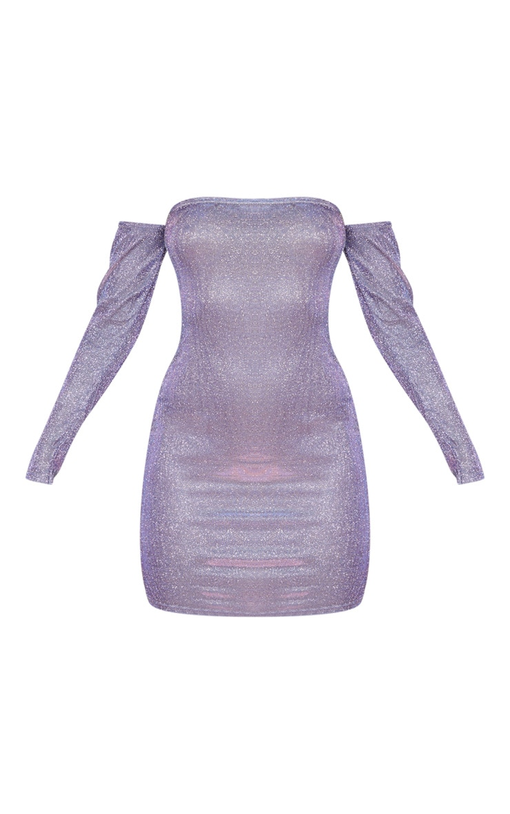 Multi Iridescent Glitter Bardot Bodycon Dress 3