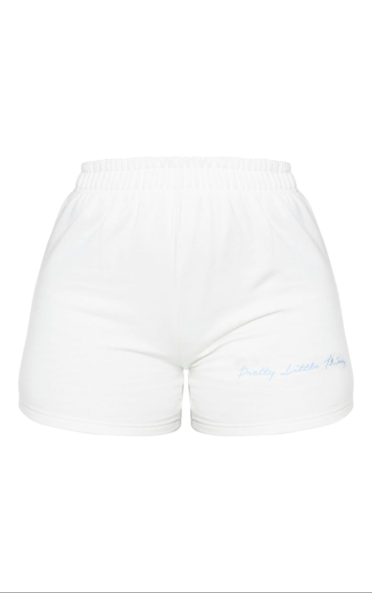 PRETTYLITTLETHING Shape Cream Embroidered Sweat Shorts 6