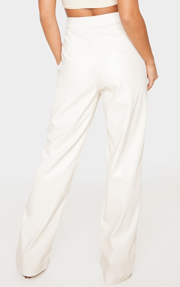 Petite Cream Pocket Detail PU Straight Leg Pants 4