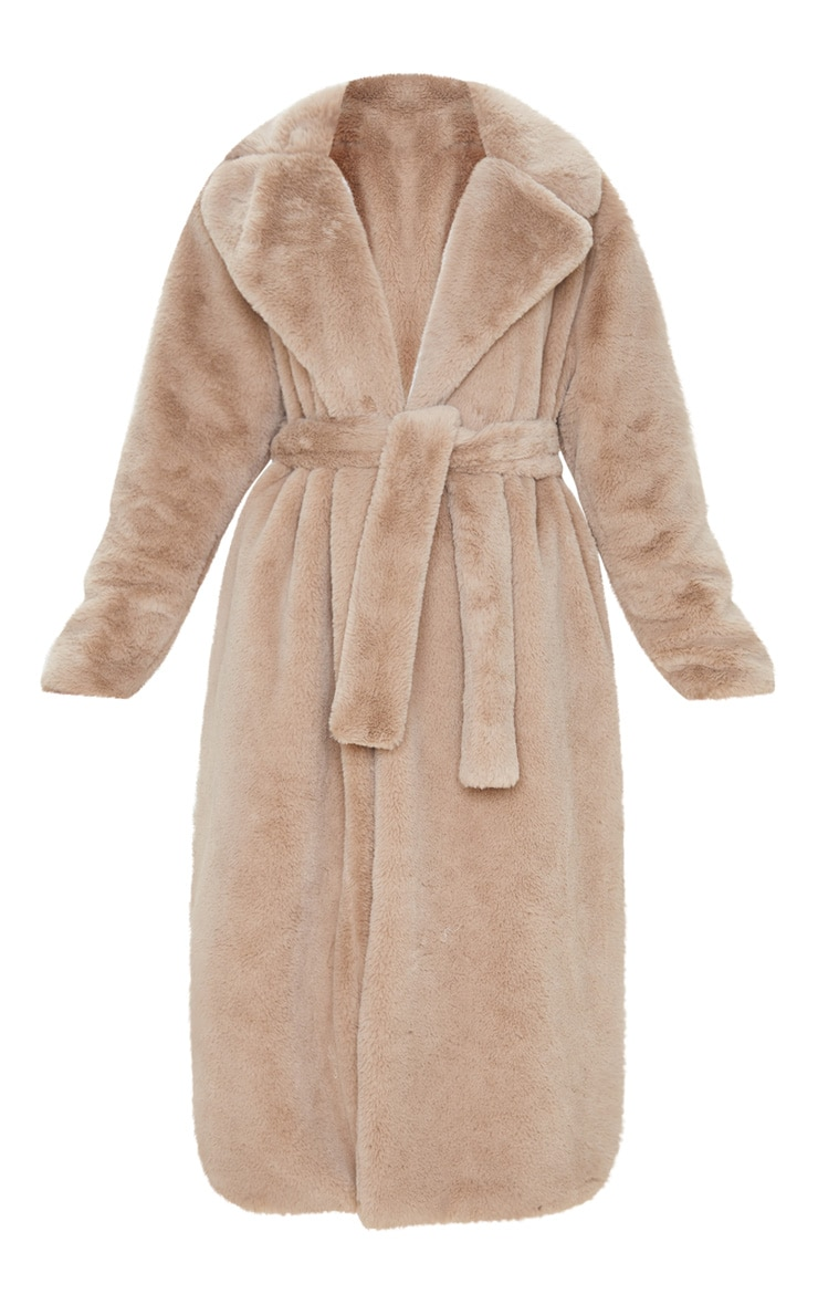 Taupe Belted Faux Fur Coat  4