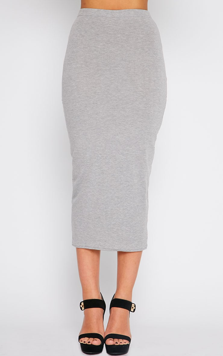 Basic Grey Longline Midi Skirt 2