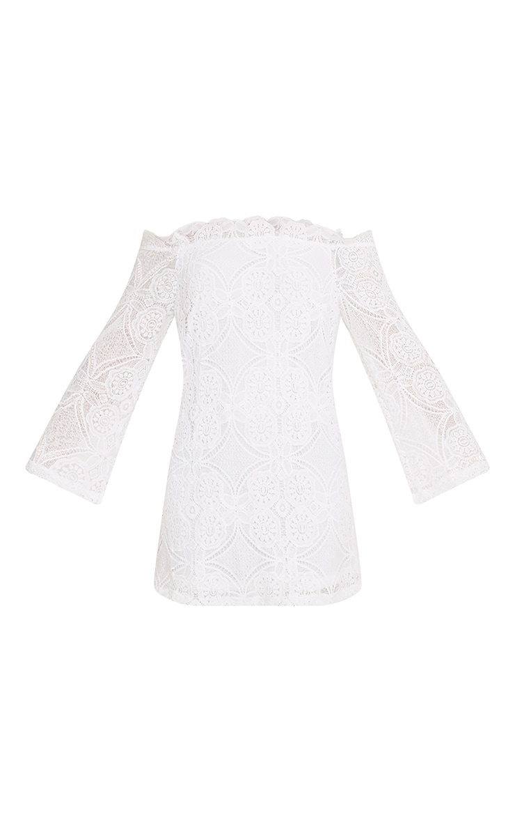 Gracie White Bardot Lace Swing Dress 3