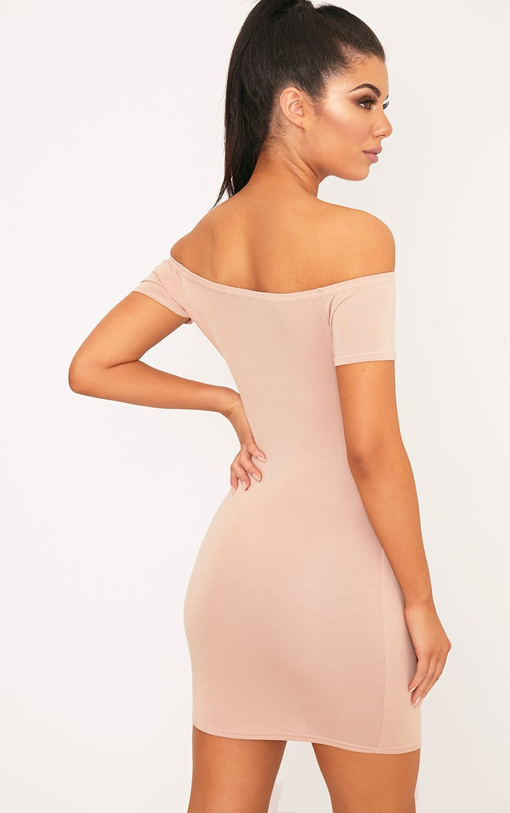 Basic Nude Curve Hem Bardot Bodycon Dress 2