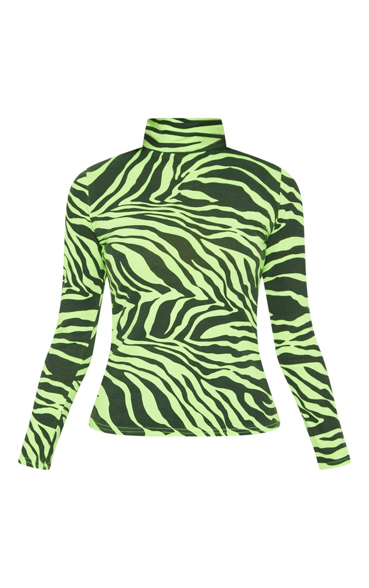 Neon Lime Zebra Printed High Neck Top 3