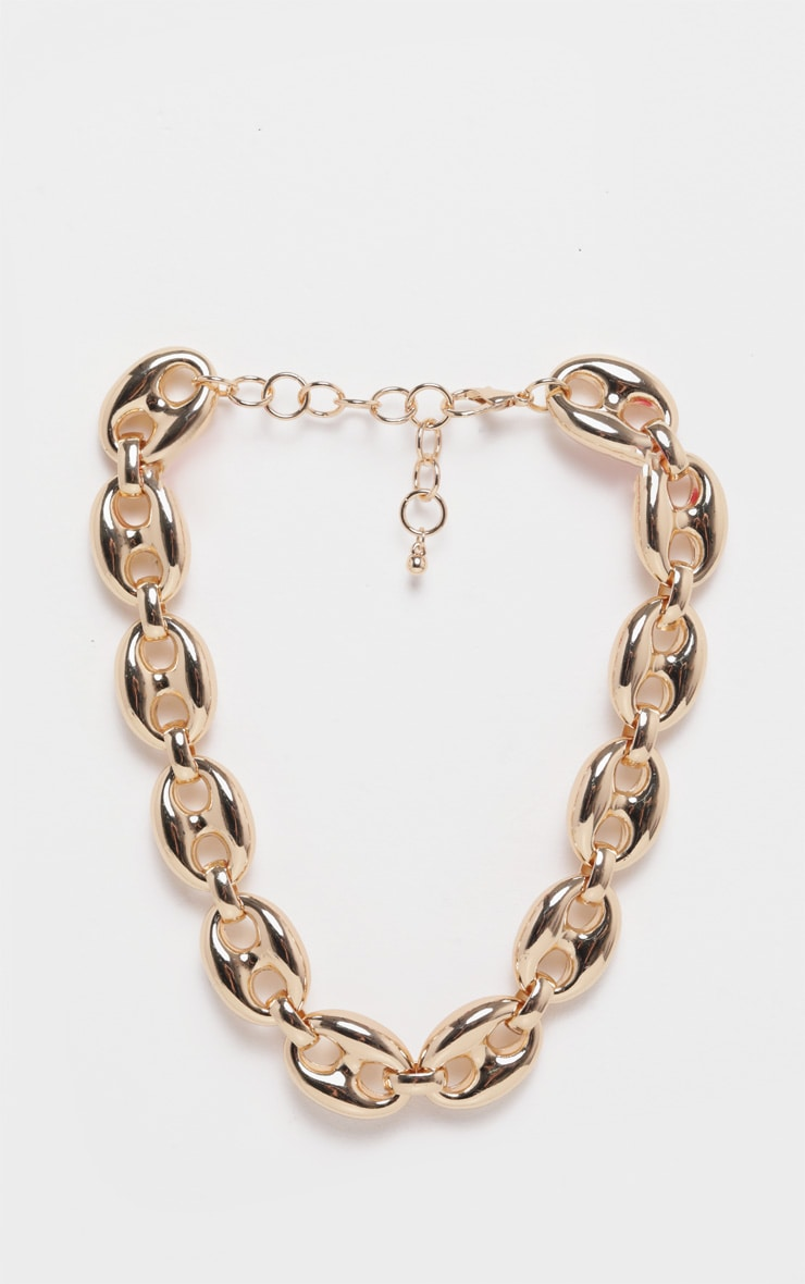 Gold Circular Linked Chunky Chain Necklace 3