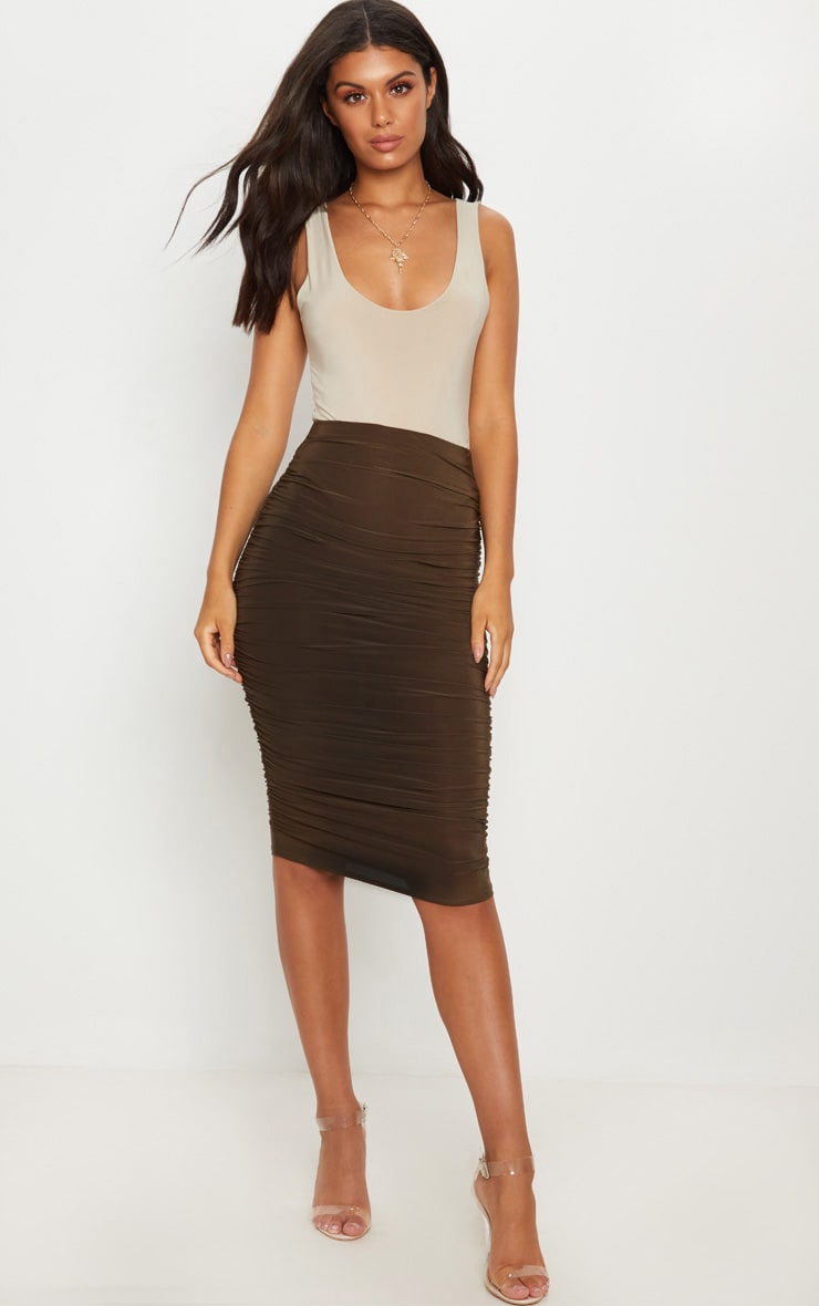Khaki Second Skin Ruched Side Midi Skirt 1