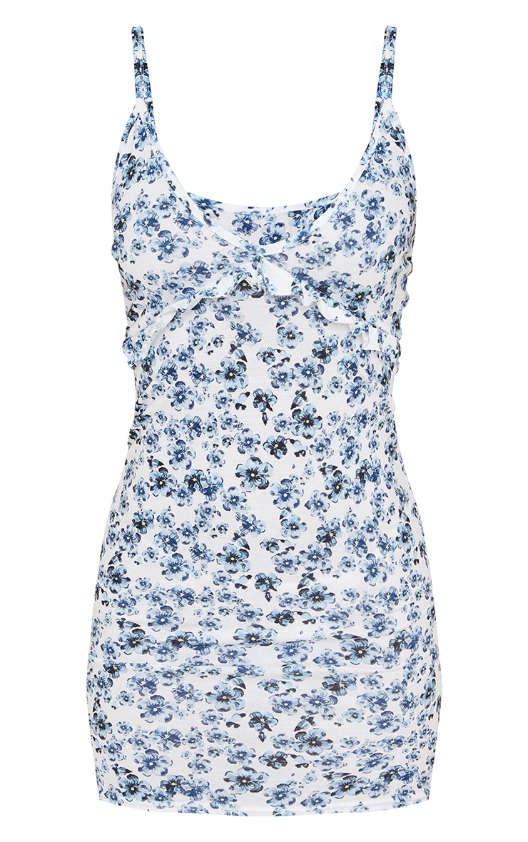 Blue Floral Print Frill Underbust Detail Strappy Shift Dress 5