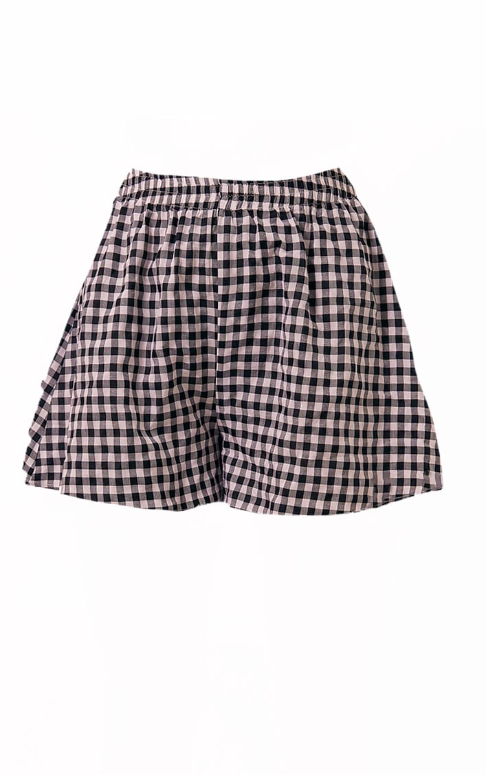 Black Gingham Printed Woven Floaty Shorts 6