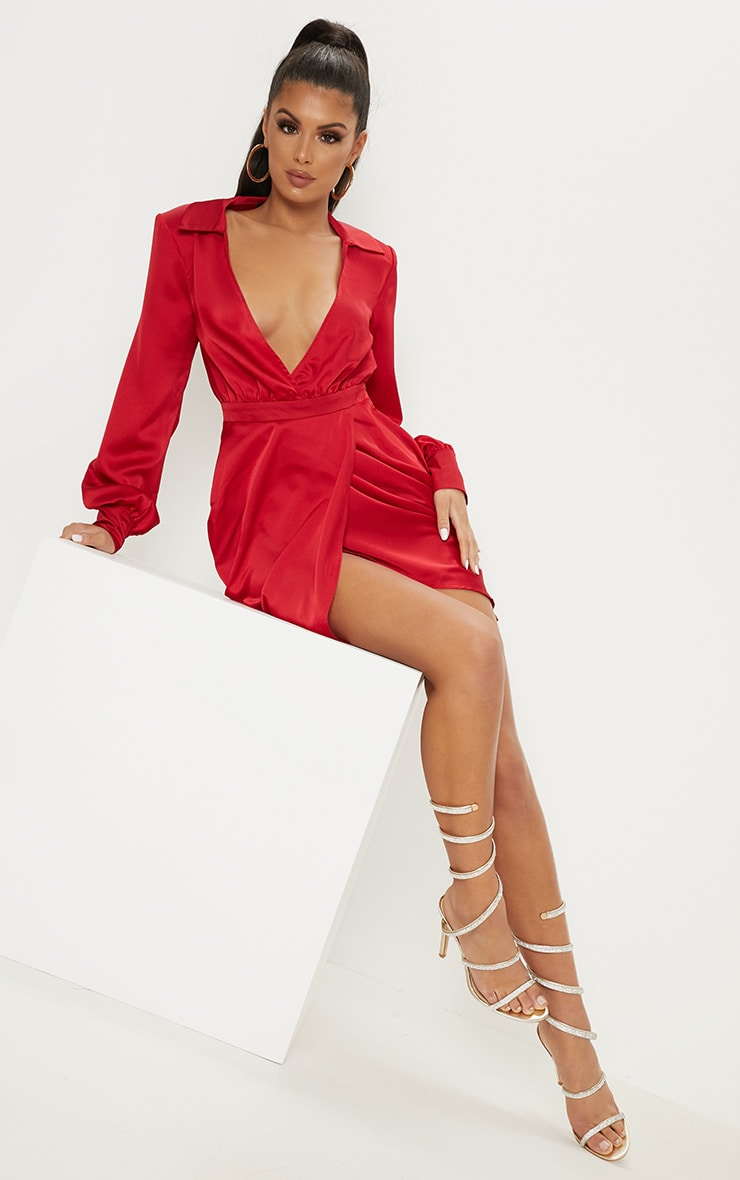 Red Satin Plunge Shoulder Pad Wrap Dress 4