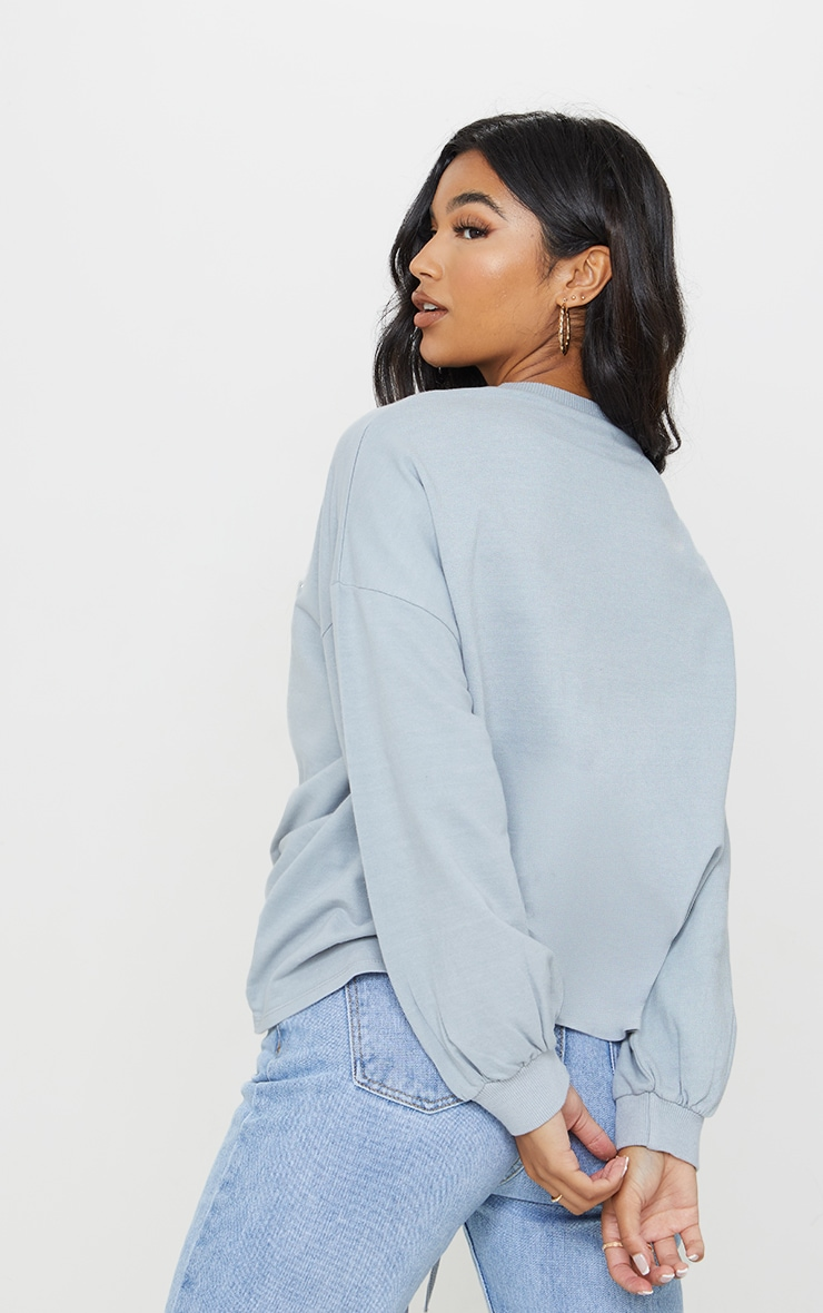 Grey Drawstring Ruched Side Sweatshirt 2