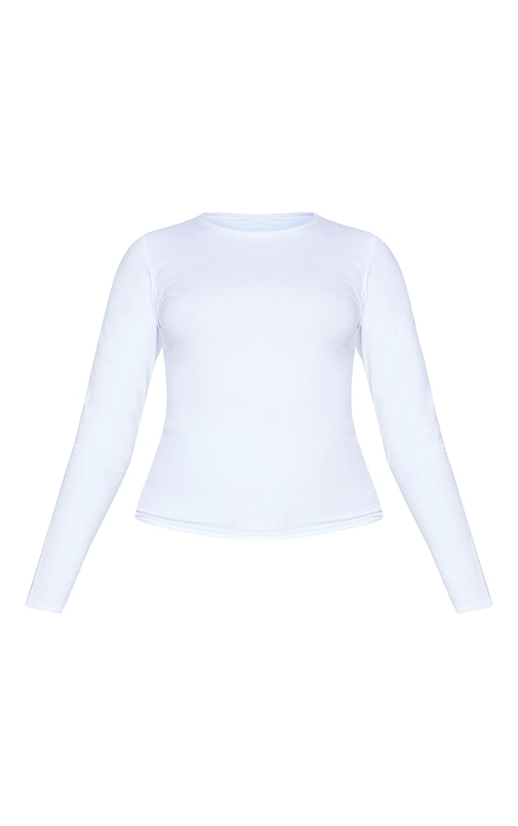Basic White Cotton Blend Long Sleeve Fitted T Shirt 5