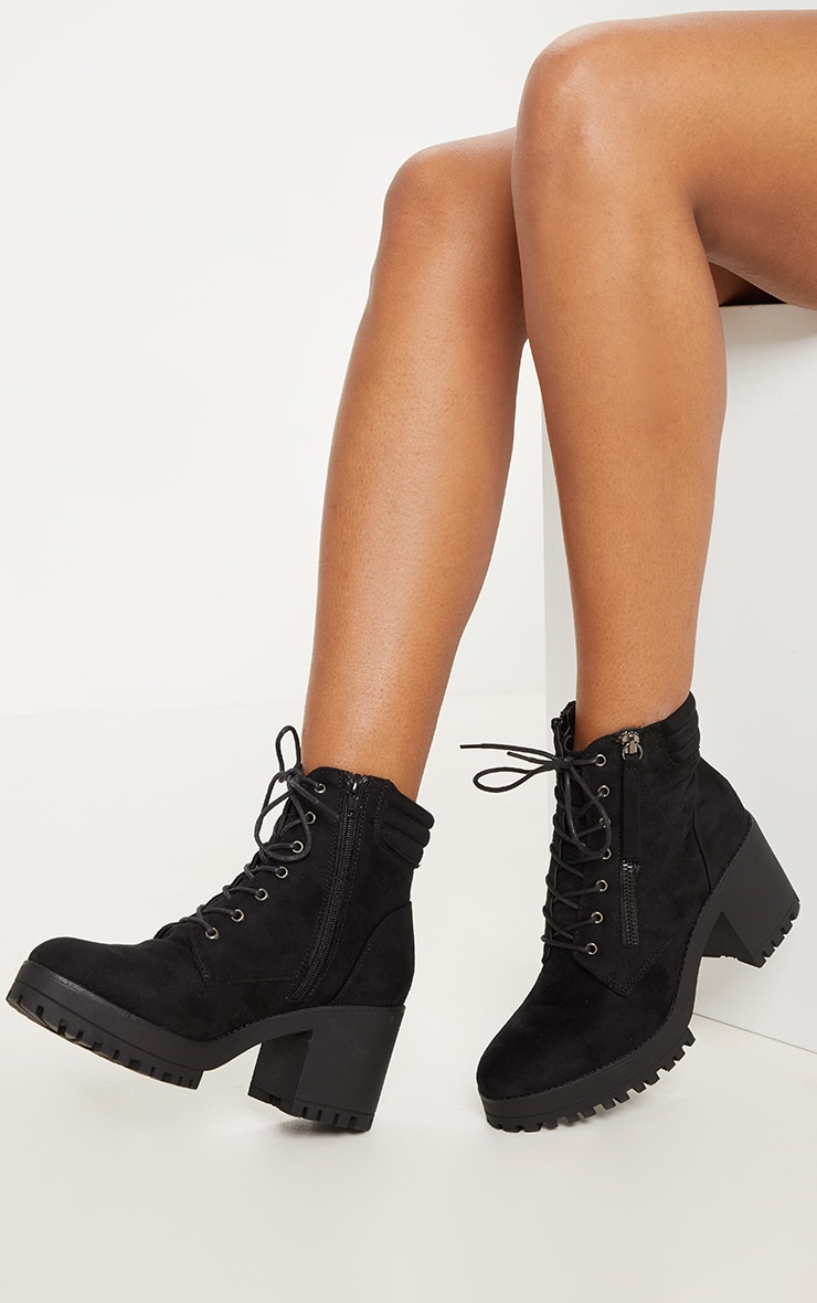 Black Lace Up Side Zip Chunky Boot