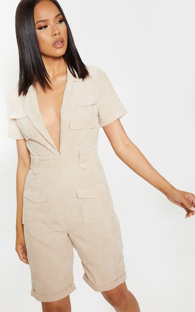 b65a93fbb3b Stone Cord Pocket Detail Plunge Playsuit
