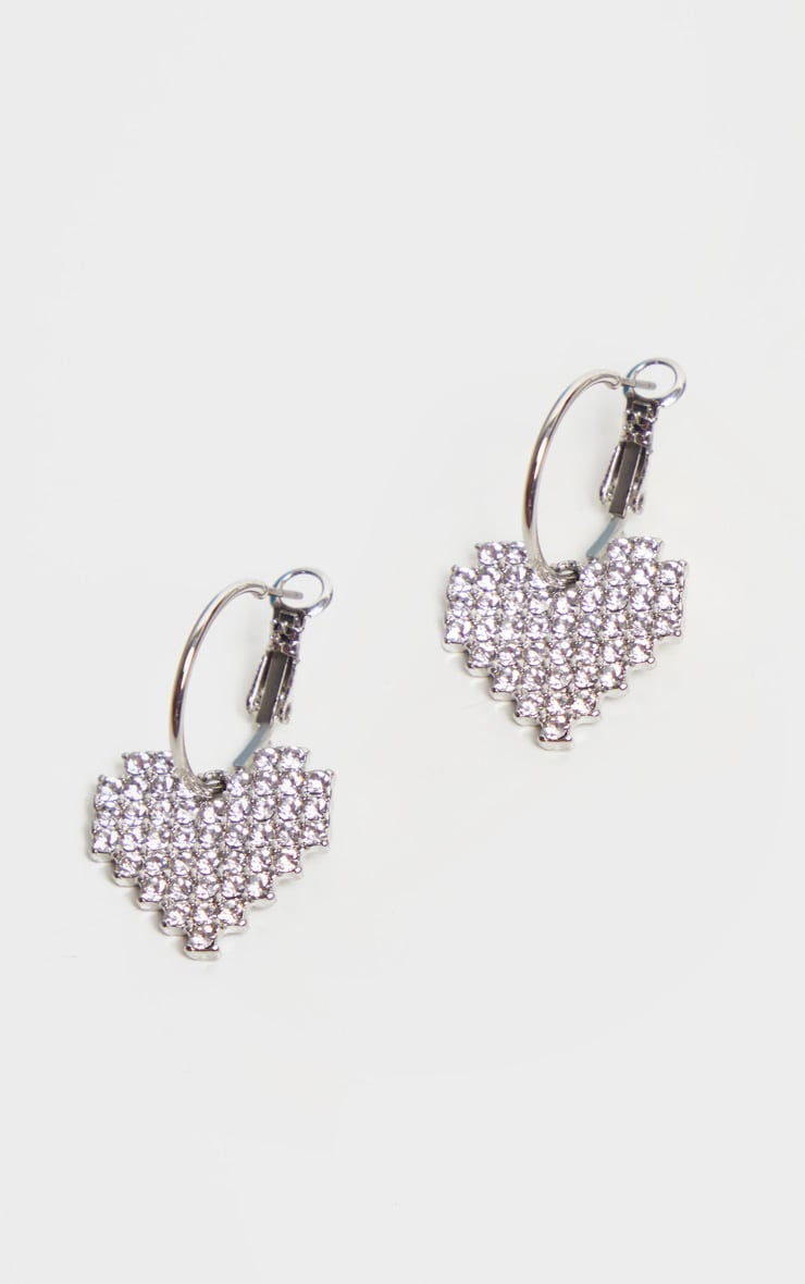 Silver Diamante Heart Small Hoop Earrings 2