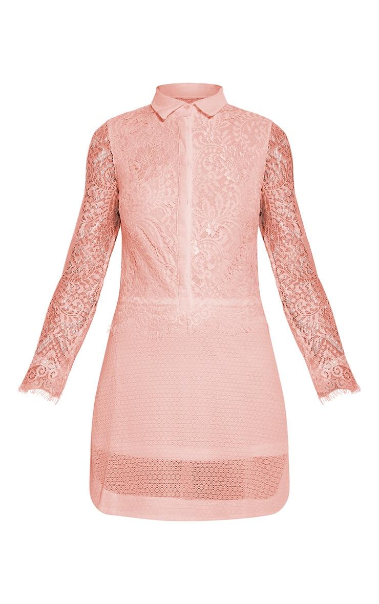 Gracey Blush Lace Detail Long Sleeve Shirt Dress 5