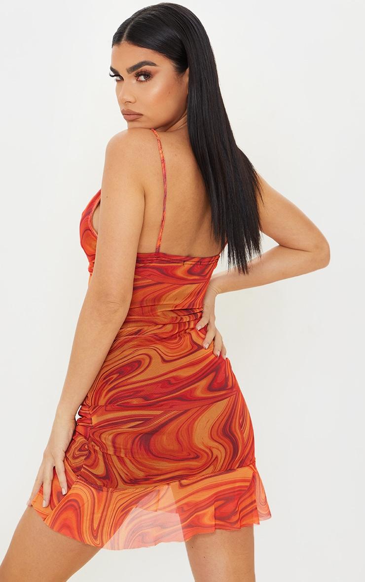 Orange Mesh Marble Print Ruched Bodycon Dress 2