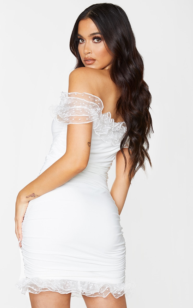 White Slinky Dobby Mesh Frill Bardot Bodycon Dress 2