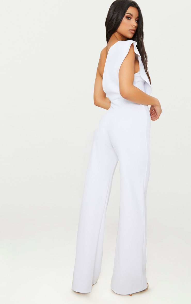 White Drape One Shoulder Jumpsuit 2