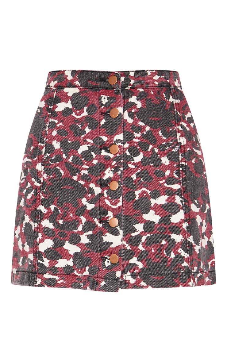 Burgundy Blurred Leopard Button Through Denim Skirt 3