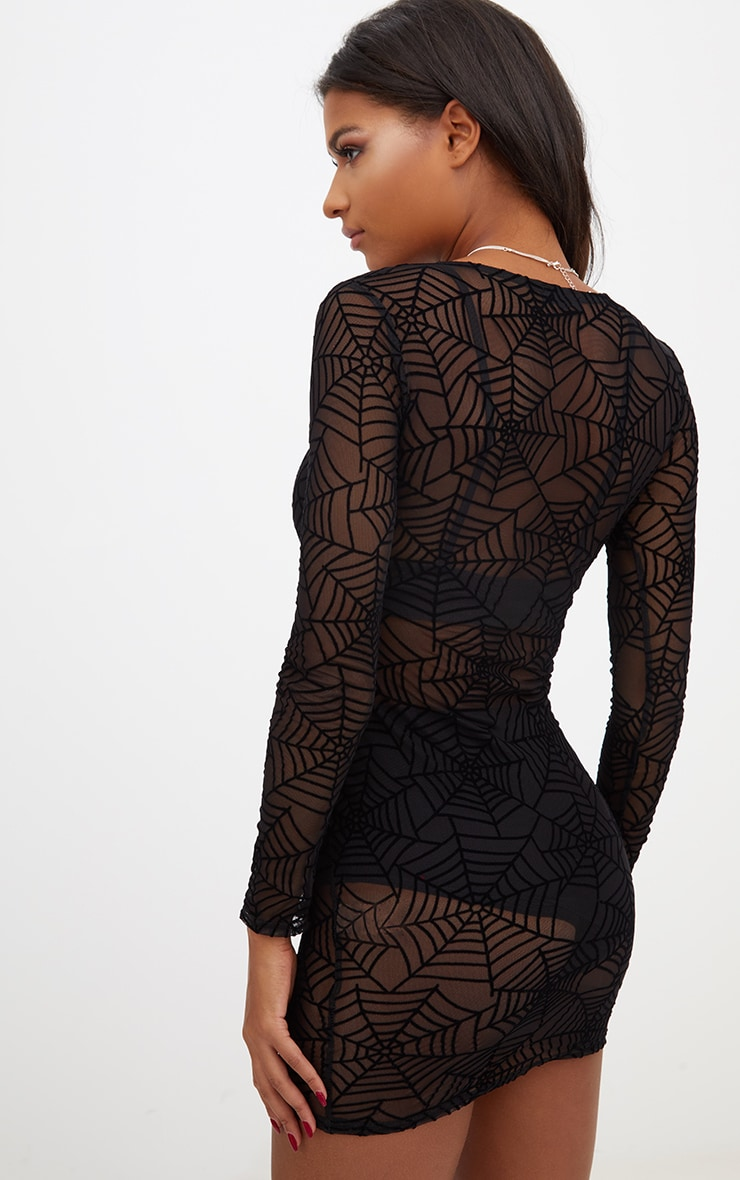 Black Spider Web Bodycon Dress 2