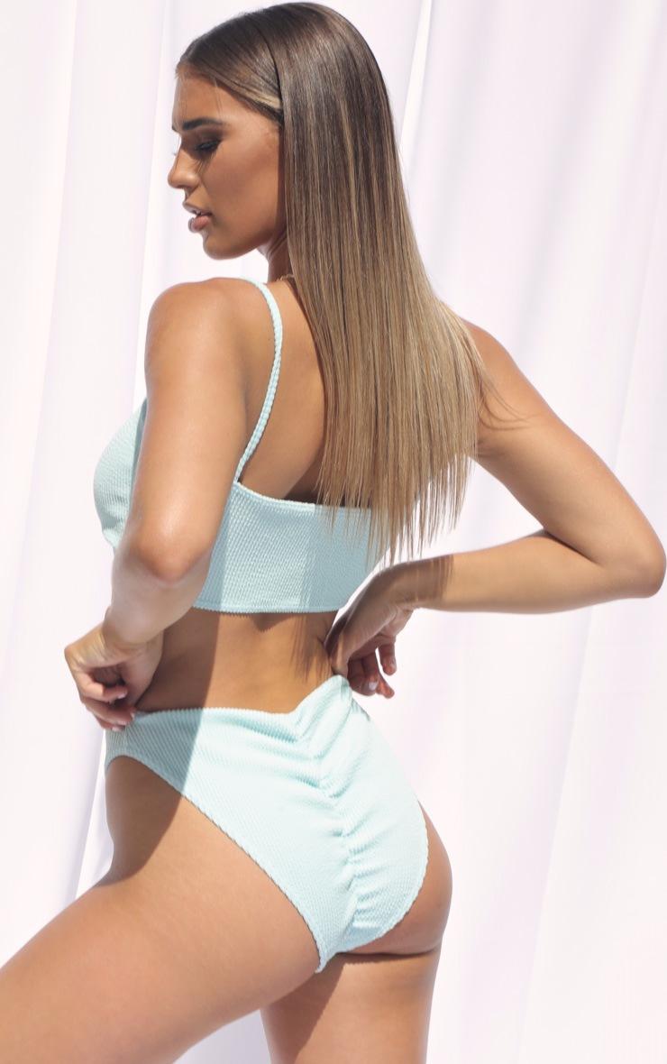 Blue Crinkle Ruched Bum Bikini Bottom 2