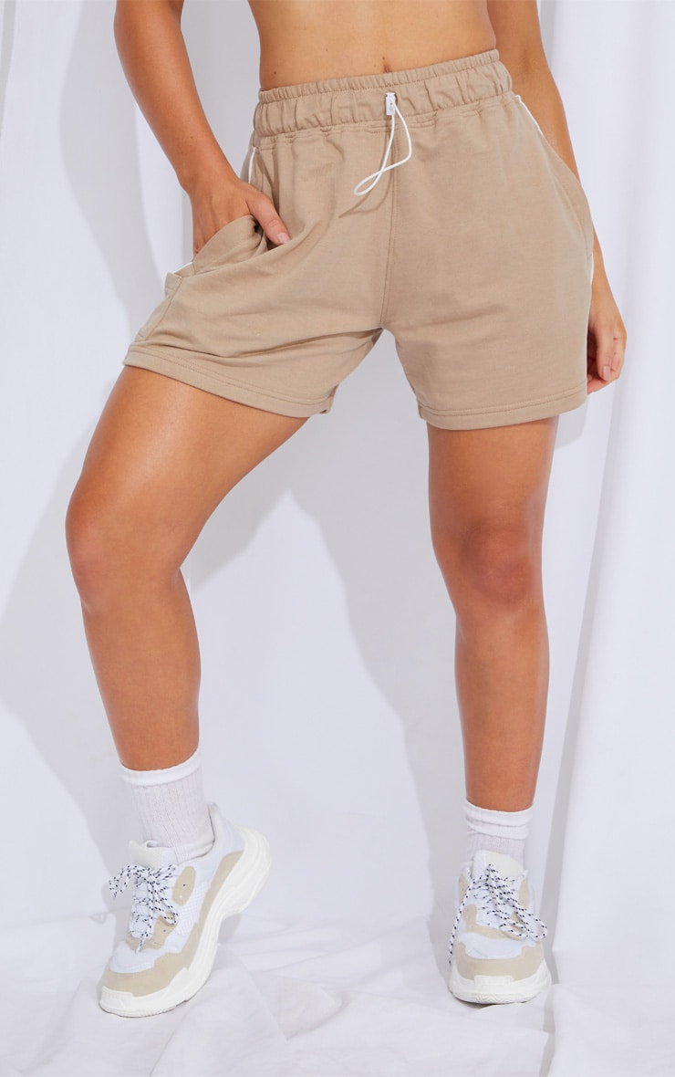 Taupe Toggle Detail Side Stripe Runner Shorts 2