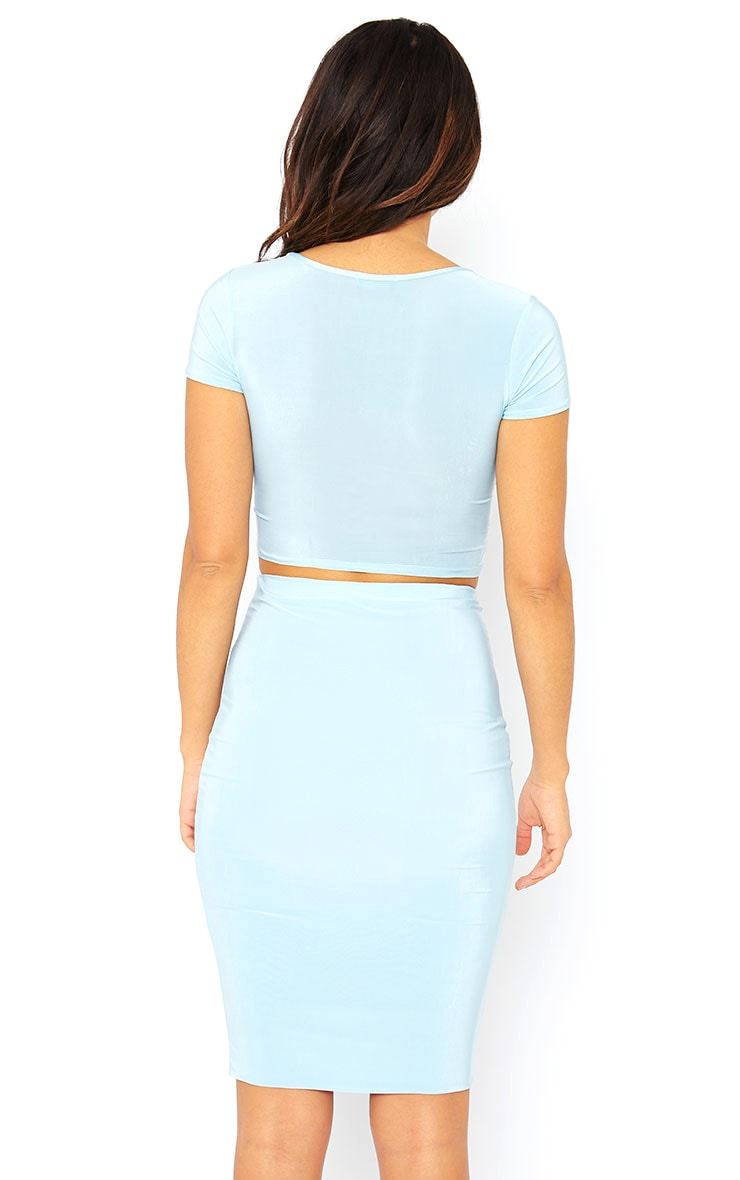 Arabella Powder Blue Slinky Cross Over Crop Top 2