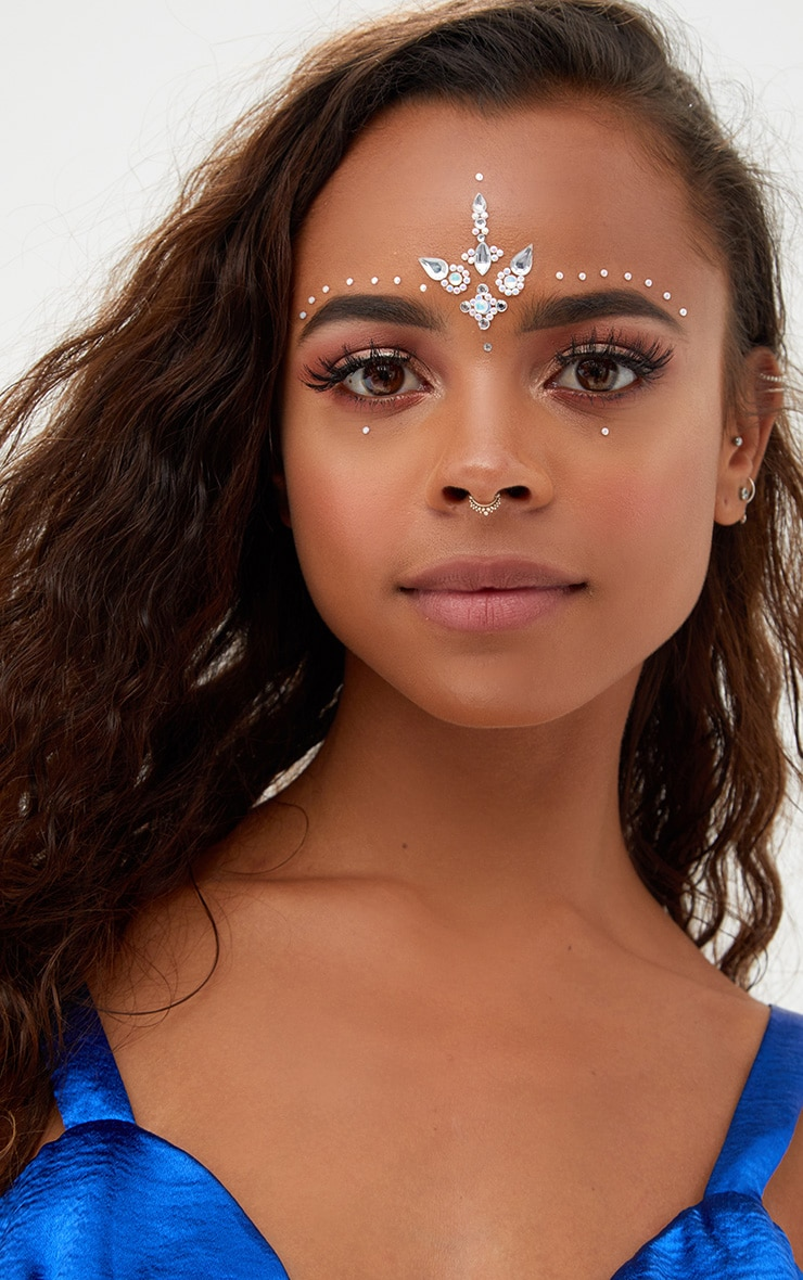 PRETTYLITTLETHING Silver Diamante Festival Forehead Jewels 1