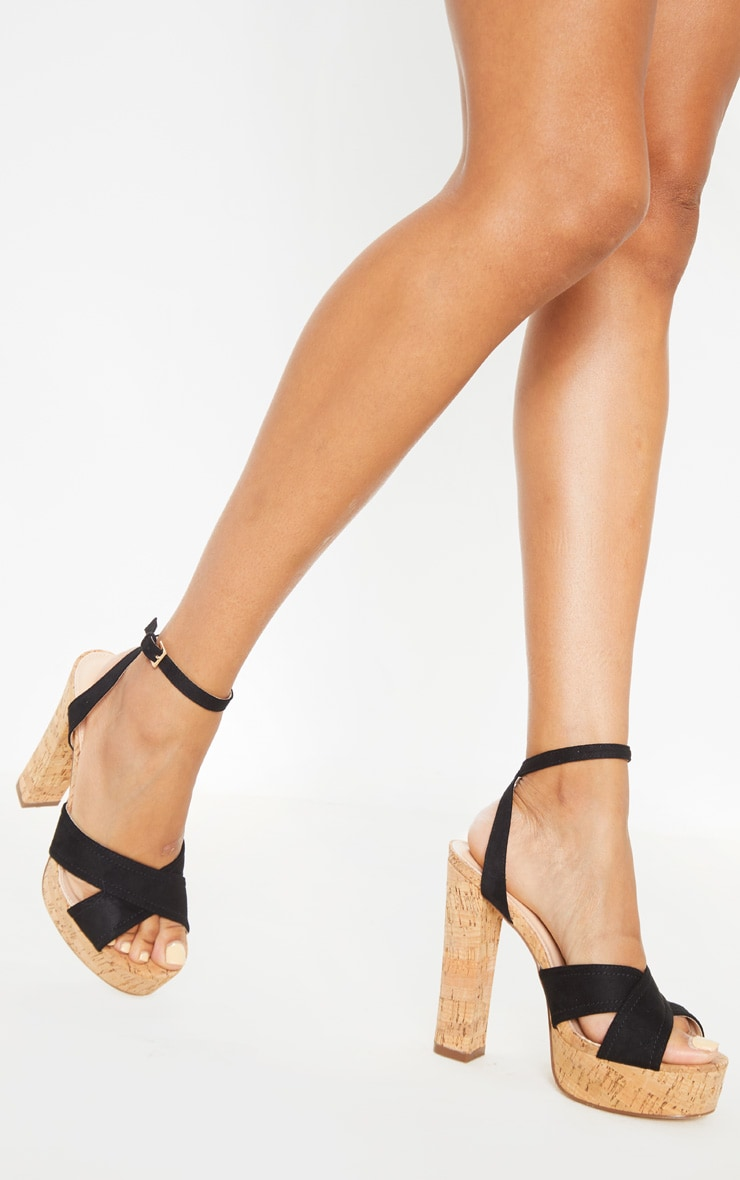 Black Cork High Platform Sandal 1