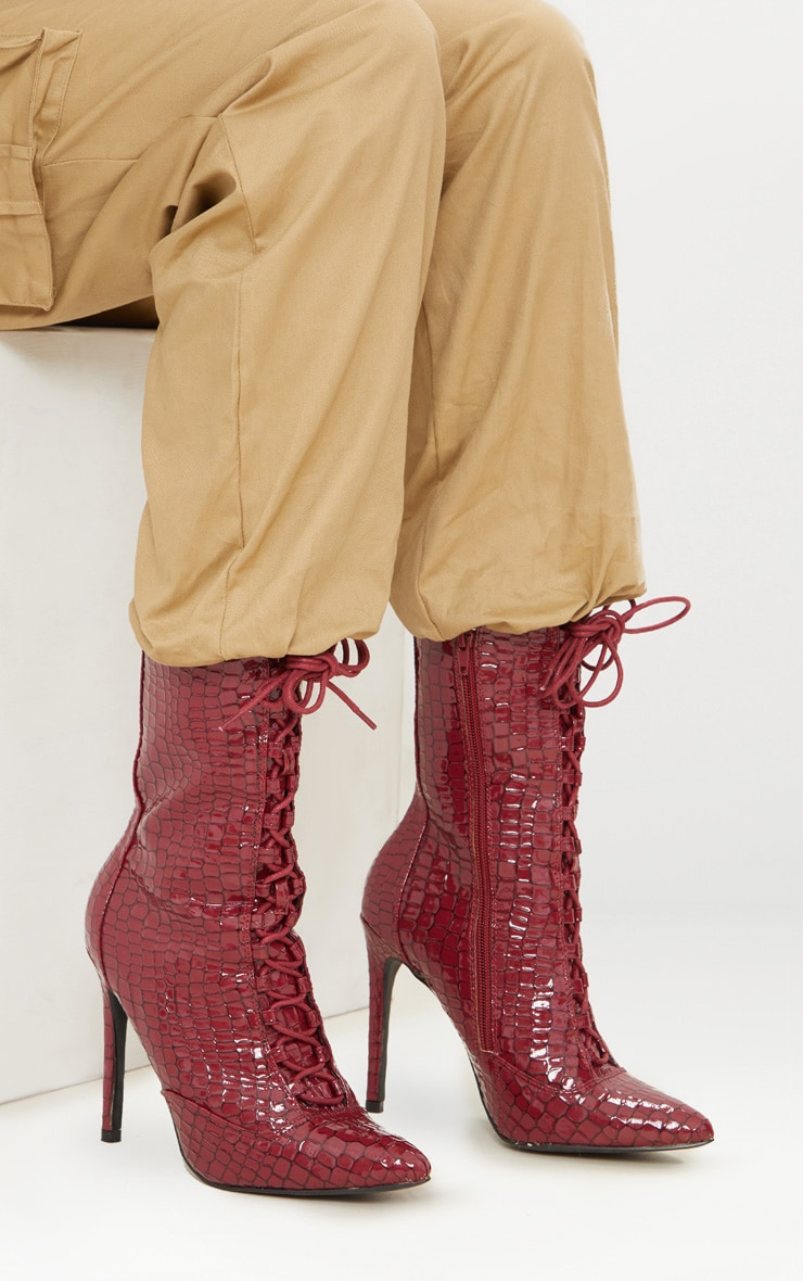 Burgundy Patent Croc Lace Up Boots 1