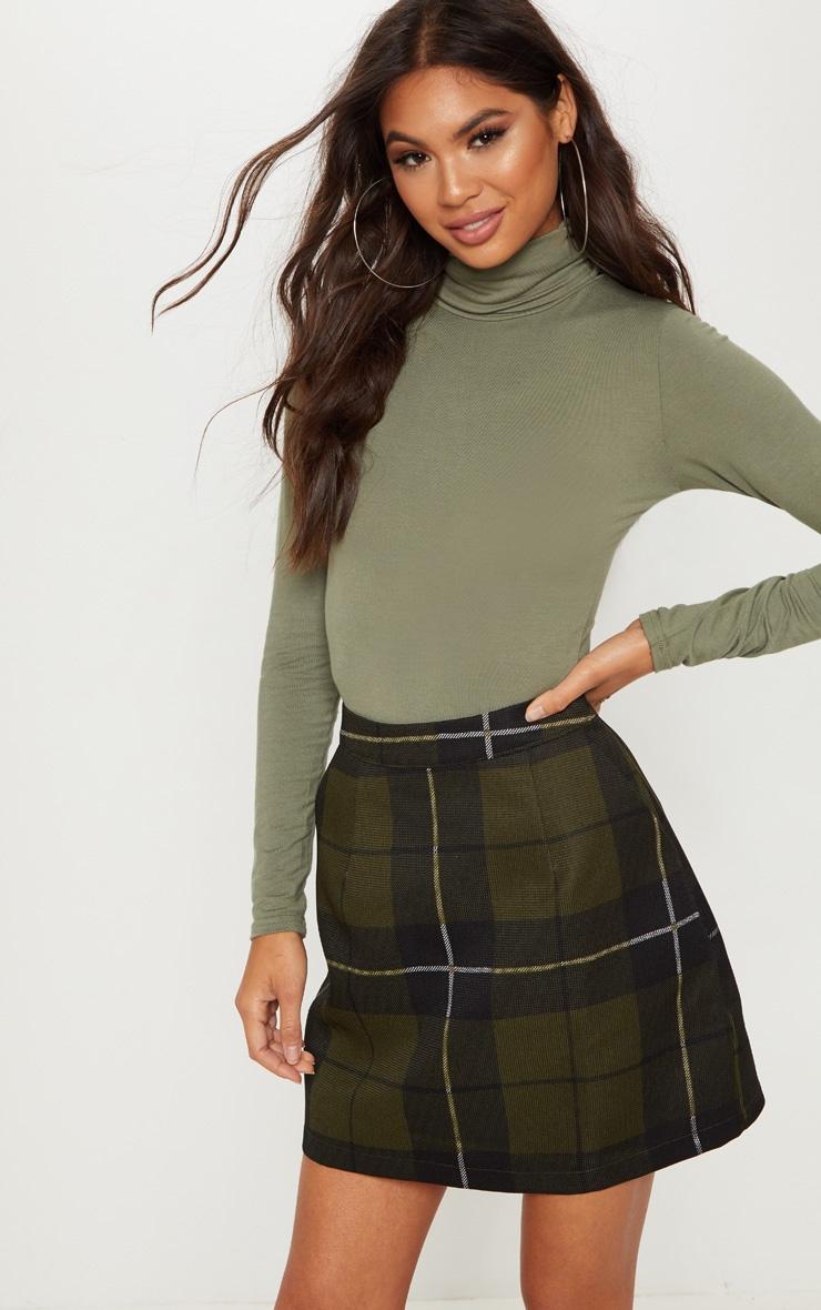 Khaki Tartan Check Mini Skirt 1
