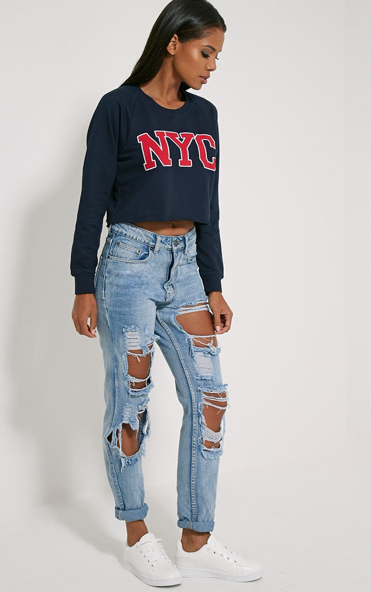 Kaira Navy NYC Crop Sweater 3