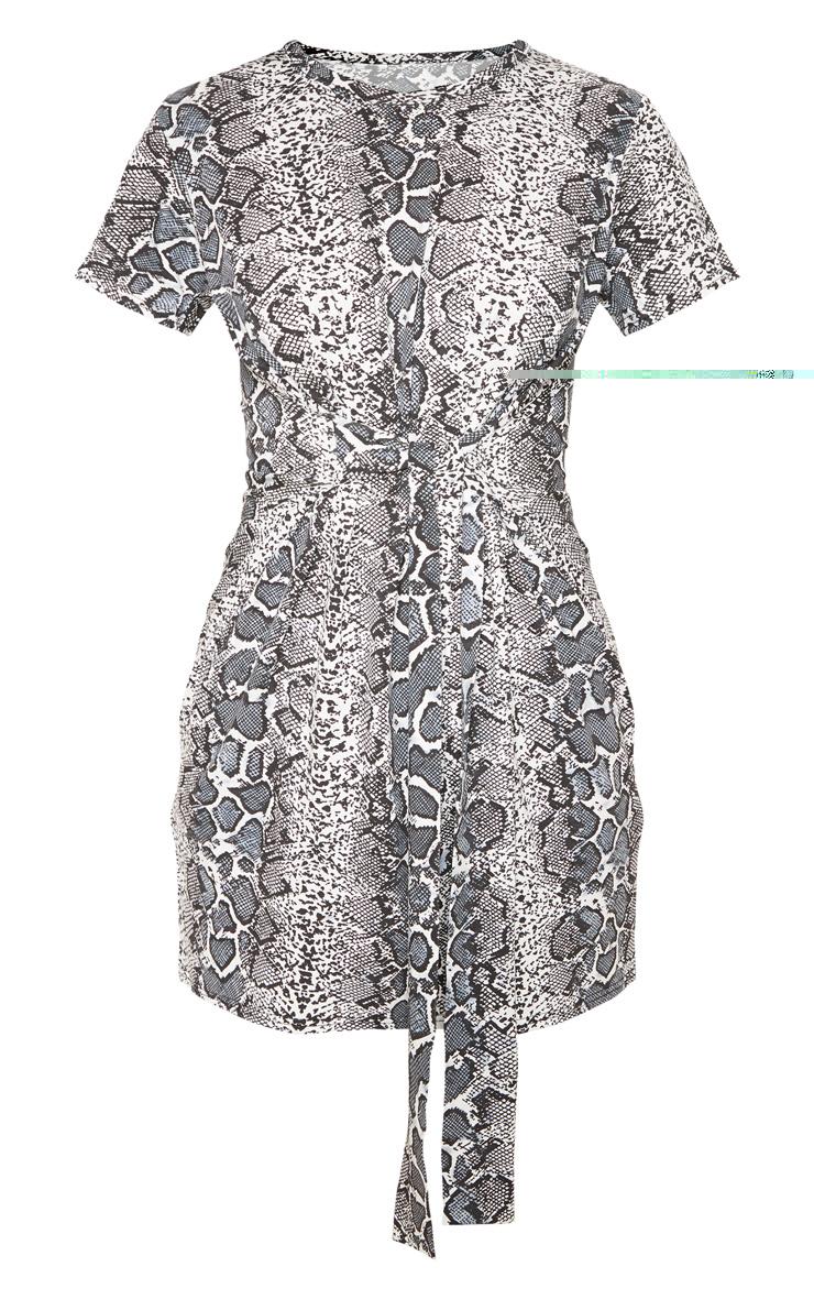 Grey Snake Tie Waist T Shirt Dress 3